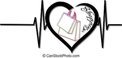 Herzschlag, Tasche, Herz - herzschlag, tasche, herz, shoppen