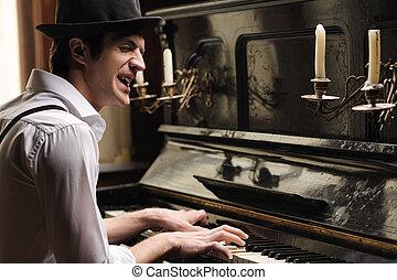 he's, homens, jovem, criativo, soul., ter, piano, cantando,...