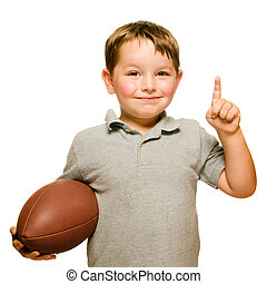 he's, viser, fodbold, isoleret, nummerer 1, fejr, barn, hvid