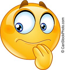 Hesitate emoticon - Hesitate uncertain emoticon