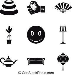 Hesitate icons set, simple style - Hesitate icons set. ...