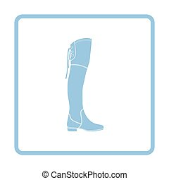 Hessian boots icon. Blue frame design. Vector illustration.