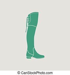 Hessian boots icon. Gray background with green. Vector illustration.