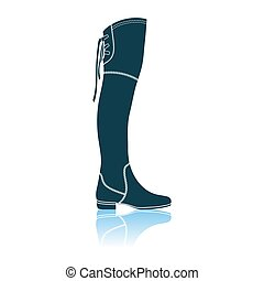 Hessian Boots Icon. Shadow Reflection Design. Vector Illustration.