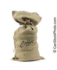 Hessian Coffee Bag - A hessian coffee bag isolated against a...