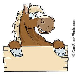 hest, hos, en, blank underskriv