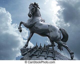 hest, statue