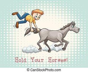 heste, idiom, greb, din