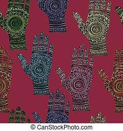 het abstracte schilderen, achtergrond, handen