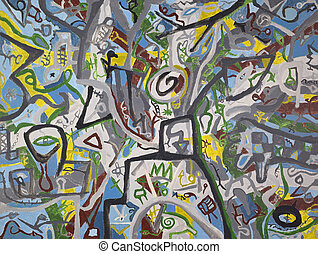 het abstracte schilderen, doek, achtergrond