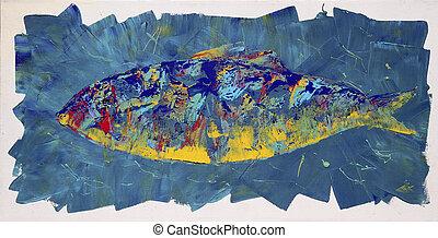 het abstracte schilderen, van, de, fish.