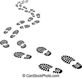 het achteruitgaan, voetafdrukken