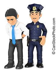 het arresteren, politieagent, thief., witte , crimineel, kraag, 3d