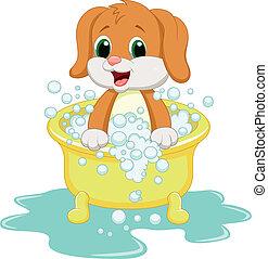 het baden, dog, spotprent