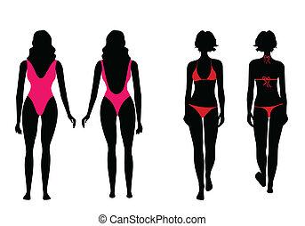het baden, vrouwen, silhouettes, kostuum