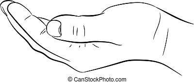 het bedelen, hand, vector, achtergrond, illustraties, witte
