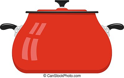 het beeld van de kleur, utensils., spotprent, achtergrond., vector, pan, pots., keuken, wit rood, liggen