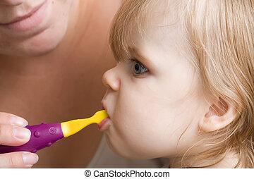 het behouden, schoonmaken, teeth