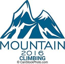 het beklimmen van de berg, alpien, sportende, vector, pictogram