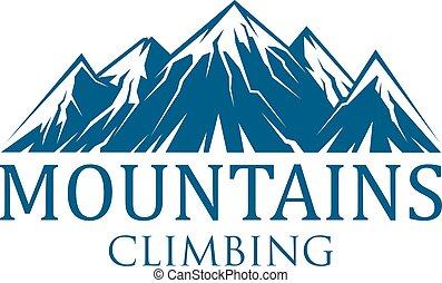 het beklimmen van de berg, sportende, vector, pictogram