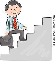 het beklimmen van stairs, spotprent, man