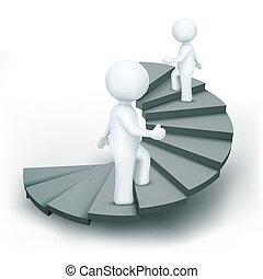 het beklimmen van stappen, karakters, succes, 3d