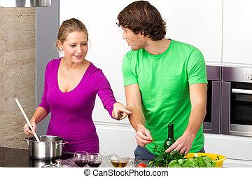 het bereiden, maaltijd, samen