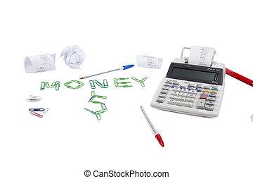 het berekenen, geld, concept