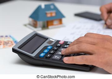 het berekenen, rekenmachine, -, kosten, hand, huisgezin