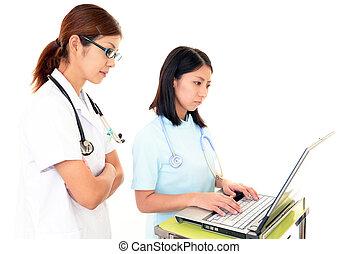het bespreken, twee, artsen