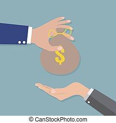 het bezorgen geld, anderen, hand