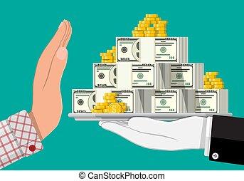 het bezorgen geld, hand., anderen, hand
