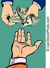 het bezorgen geld, hand