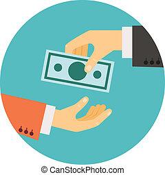 het bezorgen geld, illustratie, hand