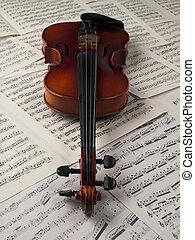 het blad van de muziek, 136, viool