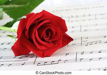 het blad van de muziek, rosebud, rood