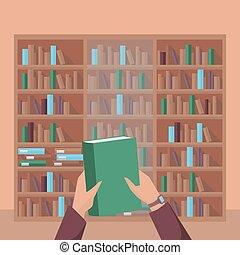 het boek van de bibliotheek, plank, achtergrond