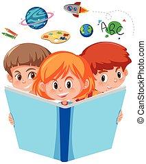 het boek van de lezing, kinderen, drie, jonge