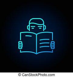 het boek van de lezing, man, pictogram