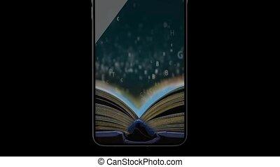 het boek van de telefoon, reading-phone., opleiding, door,...