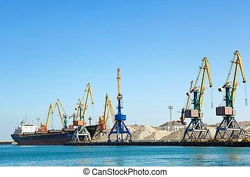 het bouwwerk, op, de, porto, dok, kraan