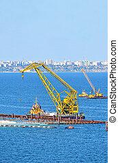 het bouwwerk, van, nieuw, terminal, in, porto