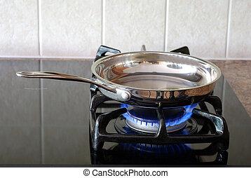 het braden, kachels, gas, pan