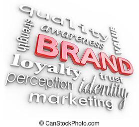 het brandmerken, brandmerken trouw, woorden, marketing, bewustzijn