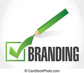 het brandmerken, concept, controleer teken, meldingsbord