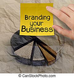 het brandmerken, jouw, zakelijk, met, cirkeldiagram, verfrommeld, hergebruiken, papier