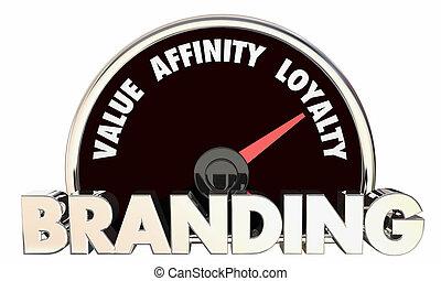 het brandmerken, trouw, illustratie, metrics, affiniteit, waarde, snelheidsmeter, 3d