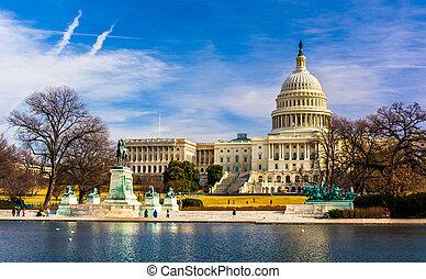 het capitool, en, weer het geven zwembad, in, washington, dc.