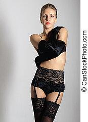 het charmeren, blonde, in, black , lingerie, en, kousen, lang, satijn, handschoenen