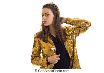 het charmeren, elegantie, meisje, in, gouden, jas, het kijken, terzijde
